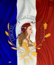 Sandra Valente-Liberté Égalité Fraternité - La Marianne Peinture Acrylique 73x60 cm - 20F SV:2020-223
