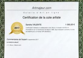Certification de la cote artiste - AKOUN - Sandra Valente - artiste peintre - www.sandravalente.fr